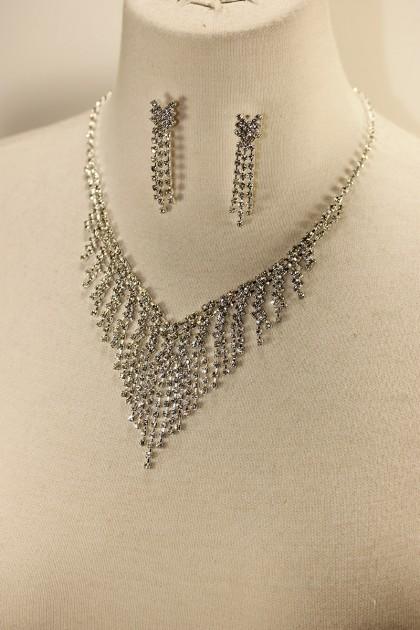 Rain rhinestone necklace set