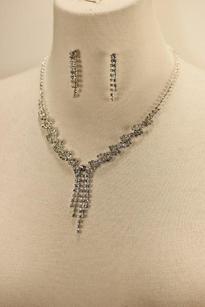 Twisted drop rhinestone necklace set