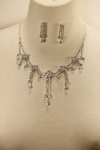 Flower garden rhinestone necklace set