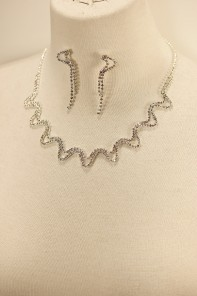 Zigzag rhinestone necklace set