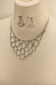Net rhinestone necklace set