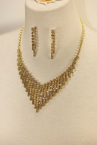 Line rhinestone necklace set