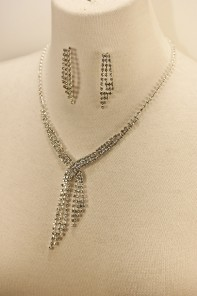 Cross drop rhinestone necklace set