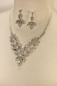 Flower rhinestone necklace set