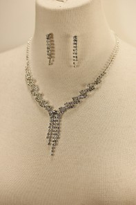 Twisted drop rhinestone necklace set