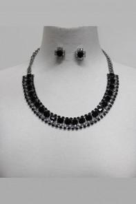 Roundy crystal stone necklace set
