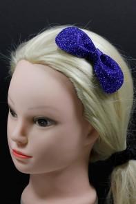 Round glitter bow clip