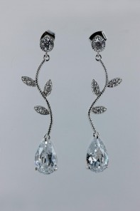 CZ waterdrop earring - CR