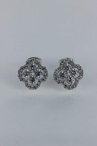 Luxury leaf motif cubic zirconia earring