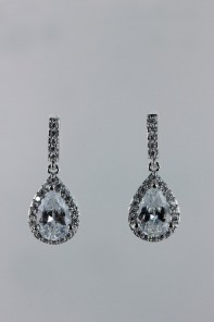 Pear dangling cubic zirconia earring