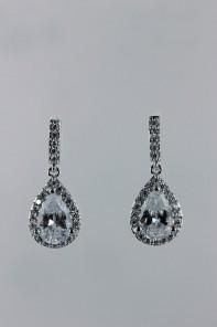 Pear dangling cubic zirconia earring