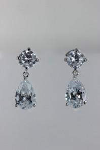 Grande pear dangling CZ earring