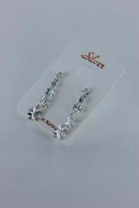 Five star CZ earring with silver post