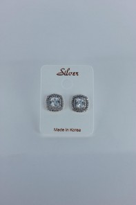 Formal CZ earring with silver post