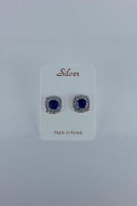 creative sapphire cushion cut CZ earring wtih silver post