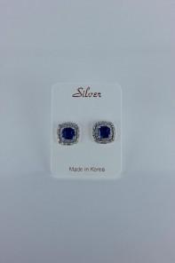 creative sapphire cushion cut CZ earring wtih silver post