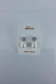Elegance pearl CZ earring with silver post