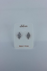 Diaper shaped CZ earring with silver post
