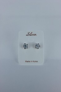 Basic flower cubic zirconia earring with silver post