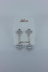 Double lux motif CZ earring with silver post