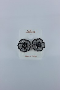 Black diamond AAA CZ Earring with silver post