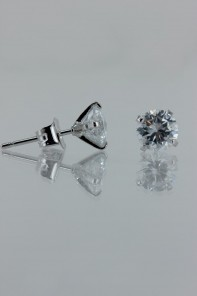 6MM AAA Quality one point up CZ Earring