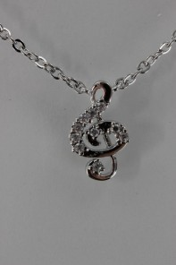 High music treble clef CZ Pendant Necklace