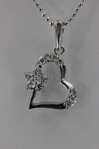 Heart with flower CZ Pendant Necklace