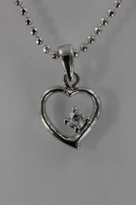 Point heart CZ Pendant Necklace