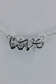 Love classic letter CZ pendant