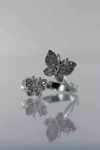 Two Butterfly CZ Ring
