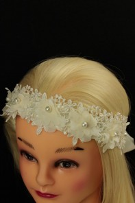 Race flower back side ribbon headband