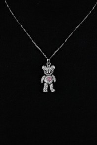Three Diemnsional Bear Pendant Necklace